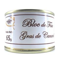 Bloc de foie gras de canard conserve 65 grs